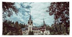 Neo-renaissance Peles Castle Built In 1873 In Carpathian Mountains Beach Towel by Radu Bercan