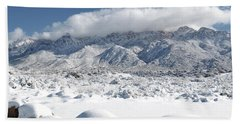 Beach Sheet featuring the photograph New Mexico Sandia Mountains Desert Snow Landscape by Andrea Hazel Ihlefeld