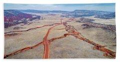 northern Colorado foothills aerial view Beach Towel