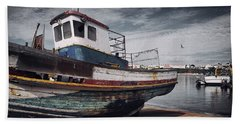 Old Fishing Boat Beach Towel