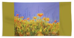Orange Poppies Beach Towel