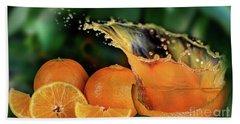 Orange Splash Beach Sheet by Shirley Mangini