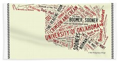 Ou Word Art University Of Oklahoma Beach Towel
