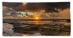 Overcast And Cloudy Sunrise Seascape Beach Sheet