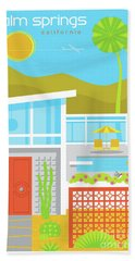 Palm Springs Retro Travel Poster Beach Sheet