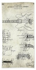 Patent Drawing For The 1960 Mute Means For String Musical Instruments By L. P. Allers Beach Towel