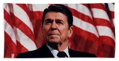 President Ronald Reagan Beach Towel by War Is Hell Store