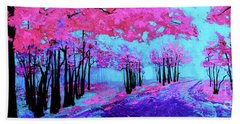 Purple Magenta, Forest, Modern Impressionist, Palette Knife Painting Beach Sheet
