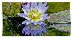 Purple Water Lily Pond Beach Sheet by Carol F Austin