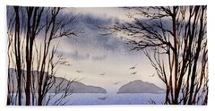 Beach Towel featuring the painting Quiet Shore by James Williamson