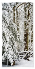 Beach Towel featuring the photograph Rail Fence And Snow by Thomas R Fletcher