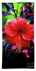 Red Hibiscus 2 Beach Sheet by Inspirational Photo Creations Audrey Woods