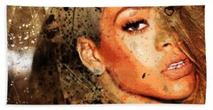 Robyn Rihanna Fenty - Rihanna Beach Towel by Sir Josef - Social Critic - ART