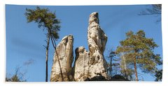 Beach Towel featuring the photograph Rock Formations In The Bohemian Paradise Geopark by Michal Boubin