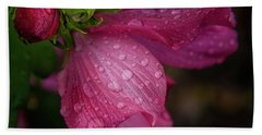 Rose Of Sharon Hibiscus With Rain Drops Beach Towel