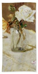 Roses In A Glass Vase Beach Towel