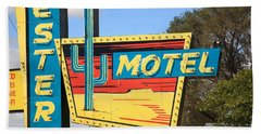 Route 66 - Western Motel Beach Sheet by Frank Romeo