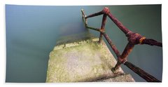 Rusty Handrail Going Down On Water Beach Towel