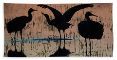 Sandhill Cranes At Sunset  Beach Towel