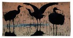 Sandhill Cranes At Sunset  Beach Sheet