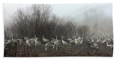 Sandhill Cranes And The Fog Beach Towel