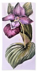 Beach Towel featuring the painting Slipper Foot Orchid by Mindy Newman