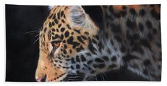 Beach Sheet featuring the painting South American Jaguar by David Stribbling