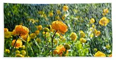 Spring Flowers In The Rain Beach Towel