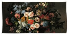 Still Life With Basket Of Flowers Beach Towel