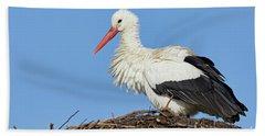Stork On A Nest Beach Towel