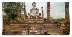 Beach Towel featuring the photograph Sukhothai Buddha by Adrian Evans