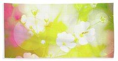 Summer Flowers, Baby's Breath, Digital Art Beach Sheet