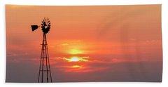 Sunrise And Windmill 01 Beach Towel
