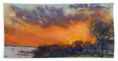 Sunset At Gratwick Waterfront Park Beach Towel
