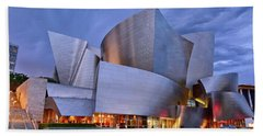 Sunset At The Walt Disney Concert Hall In Downtown Los Angeles. Beach Towel