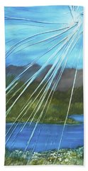 Beach Towel featuring the mixed media Sunshine Over Boise by Angela Stout