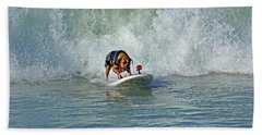 Surfing Dog Beach Towel by Thanh Thuy Nguyen