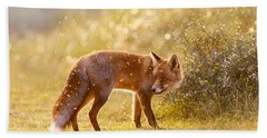 The Fox And The Fairy Dust Beach Sheet by Roeselien Raimond