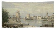 The Harbor Of La Rochelle Beach Sheet by Jean Baptiste Camille Corot