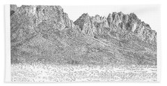 Beach Towel featuring the painting The Organ Mountains by Jack Pumphrey