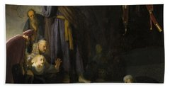 The Raising Of Lazarus Beach Towel by Rembrandt