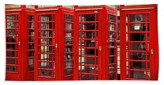 Red Telephone Box  Beach Towel