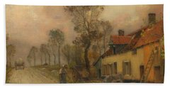 Beach Towel featuring the painting The Route Nationale At Samer by Jean-Charles Cazin