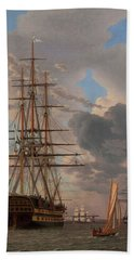 The Russian Ship Of The Line Asow And A Frigate At Anchor In The Roads Of Elsinore Beach Towel