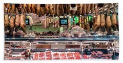 Traditional Spanish Cured Meats And Sausages La Boqueria Market  Beach Towel