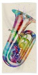 Tuba Abstract Watercolor Beach Towel