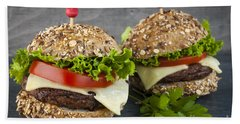 Two Gourmet Hamburgers Beach Towel