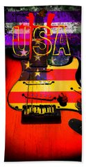 Beach Sheet featuring the photograph Usa Strat Guitar Music by Guitar Wacky