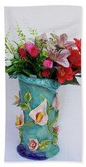 Vase, Rose Calla Beach Towel