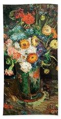Vase With Zinnias And Geraniums Beach Sheet